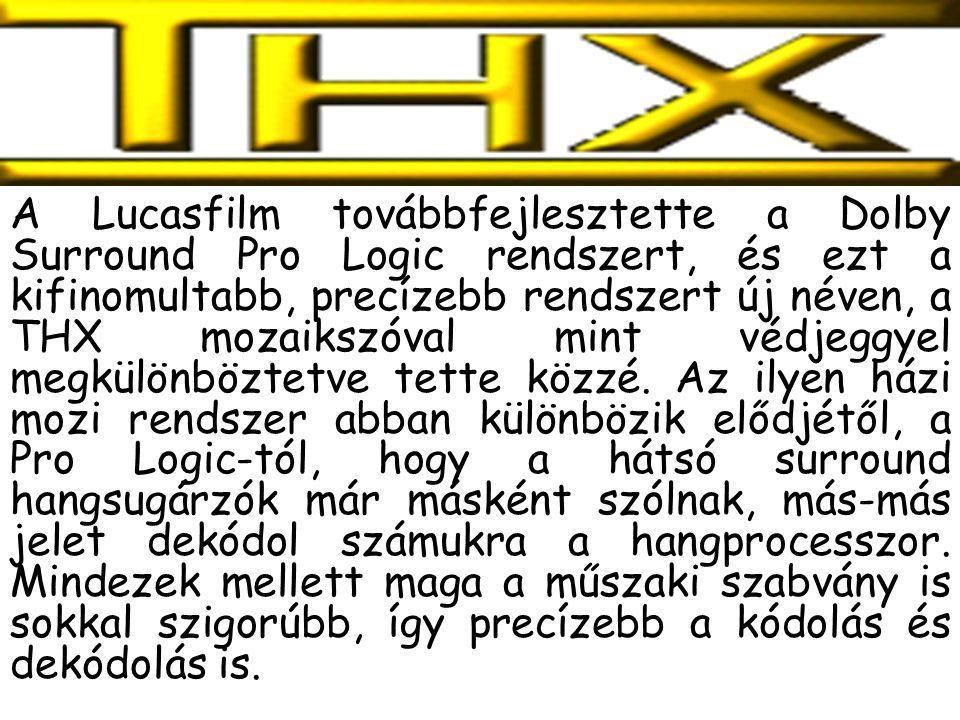 A Lucasfilm továbbfejlesztette a Dolby Surround Pro Logic rendszert, és ezt a kifinomultabb, precízebb rendszert új néven, a THX mozaikszóval mint védjeggyel megkülönböztetve tette közzé.