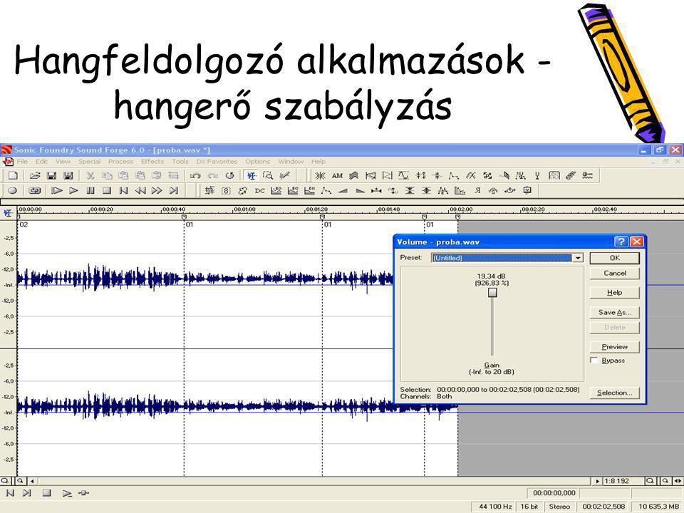 Hangfeldolgozó alkalmazások - hangerő szabályzás