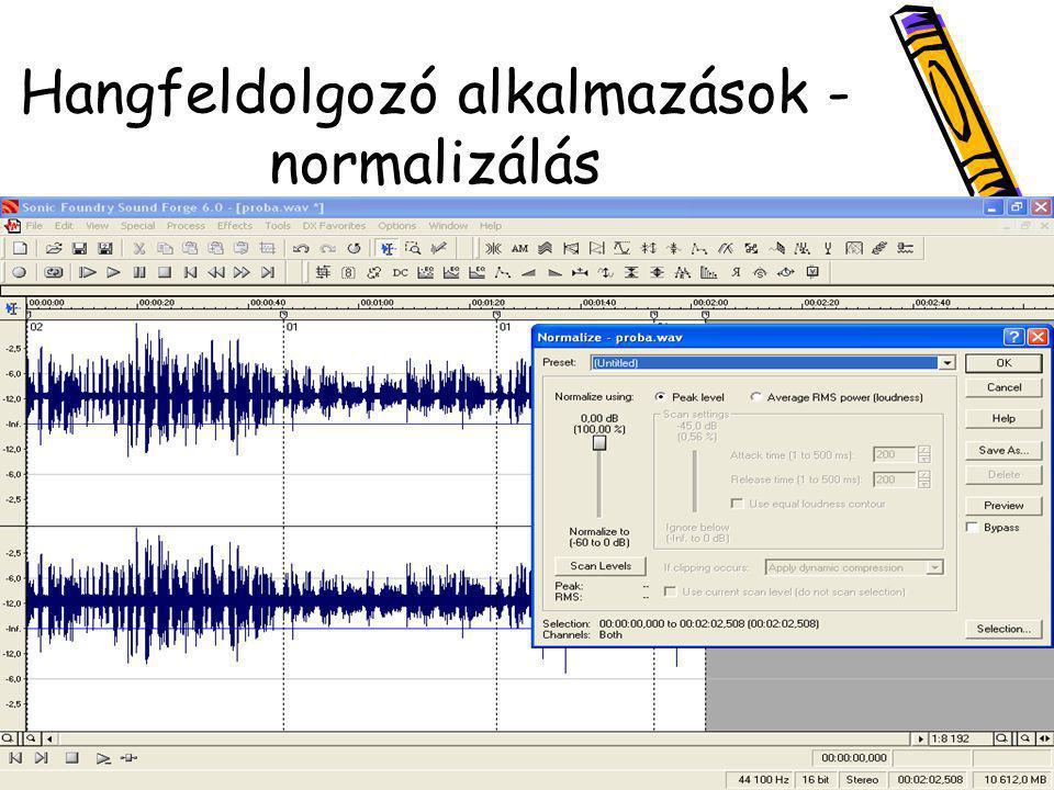 Hangfeldolgozó alkalmazások - normalizálás