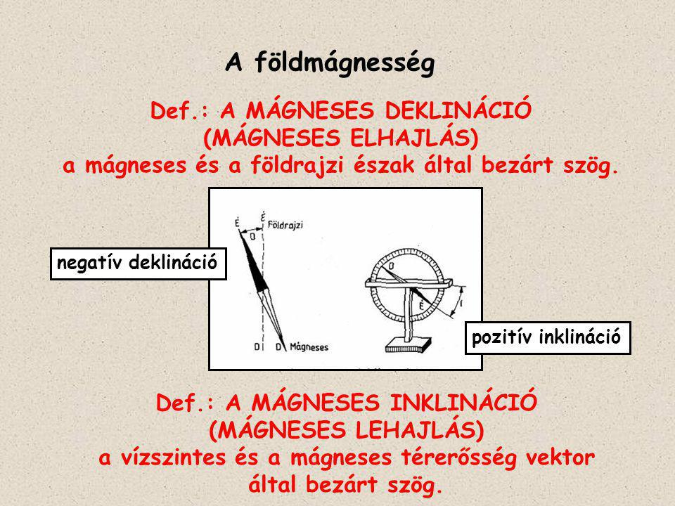 A földmágnesség Def.: A MÁGNESES DEKLINÁCIÓ (MÁGNESES ELHAJLÁS)