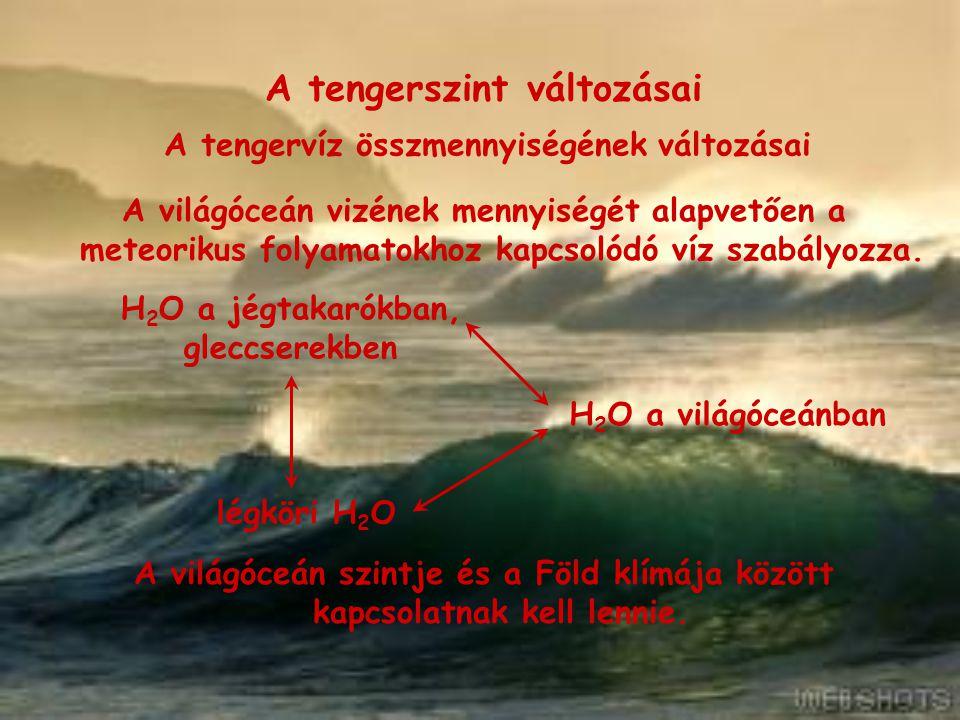 A tengerszint változásai A tengervíz összmennyiségének változásai