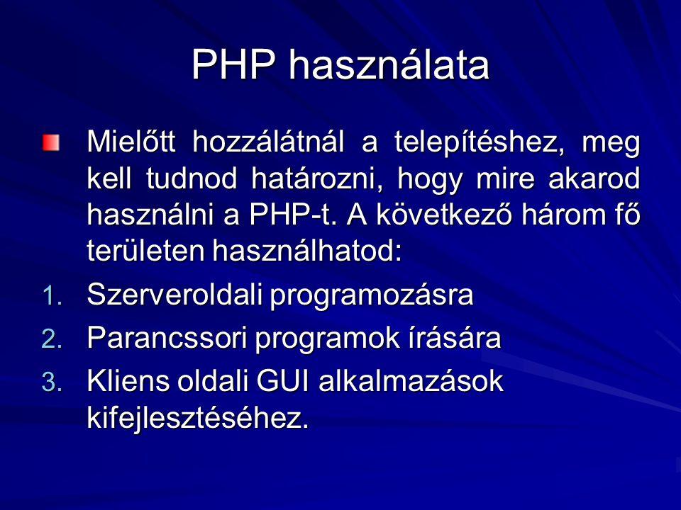 PHP használata