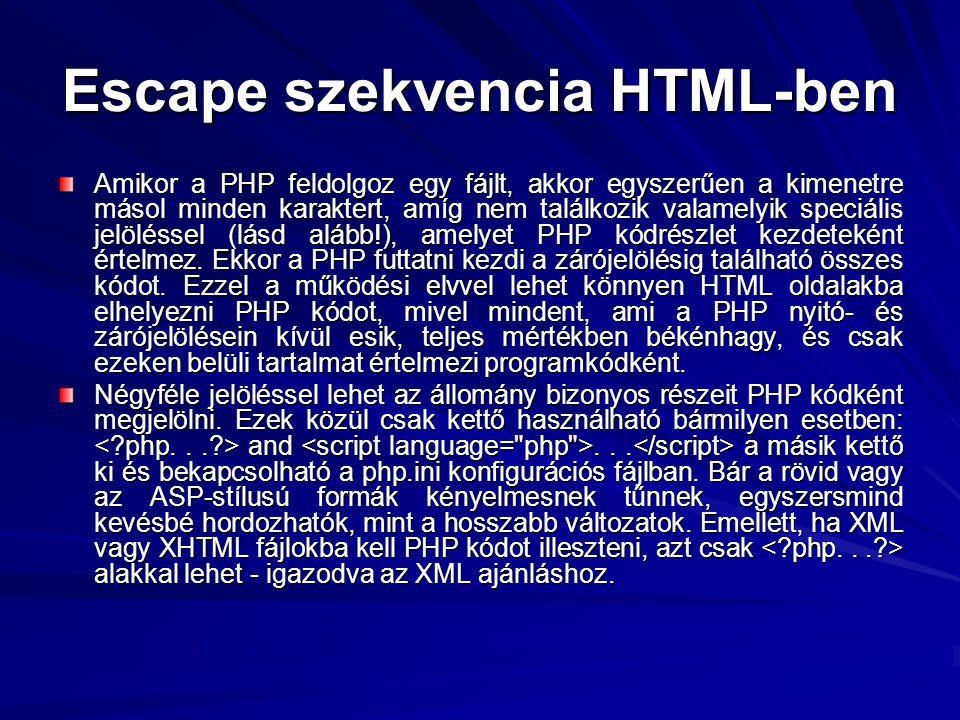 Escape szekvencia HTML-ben