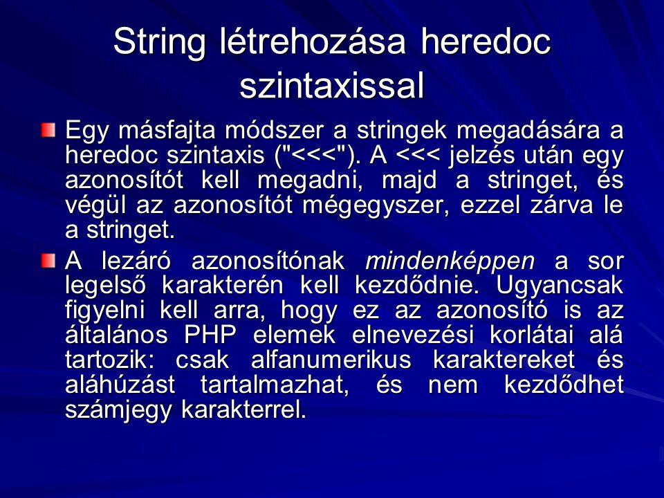 String létrehozása heredoc szintaxissal