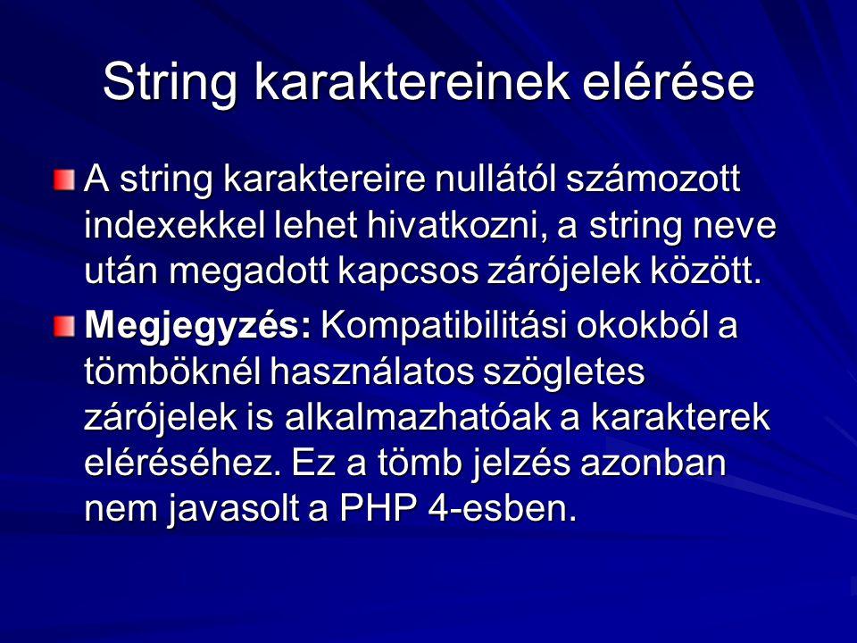 String karaktereinek elérése