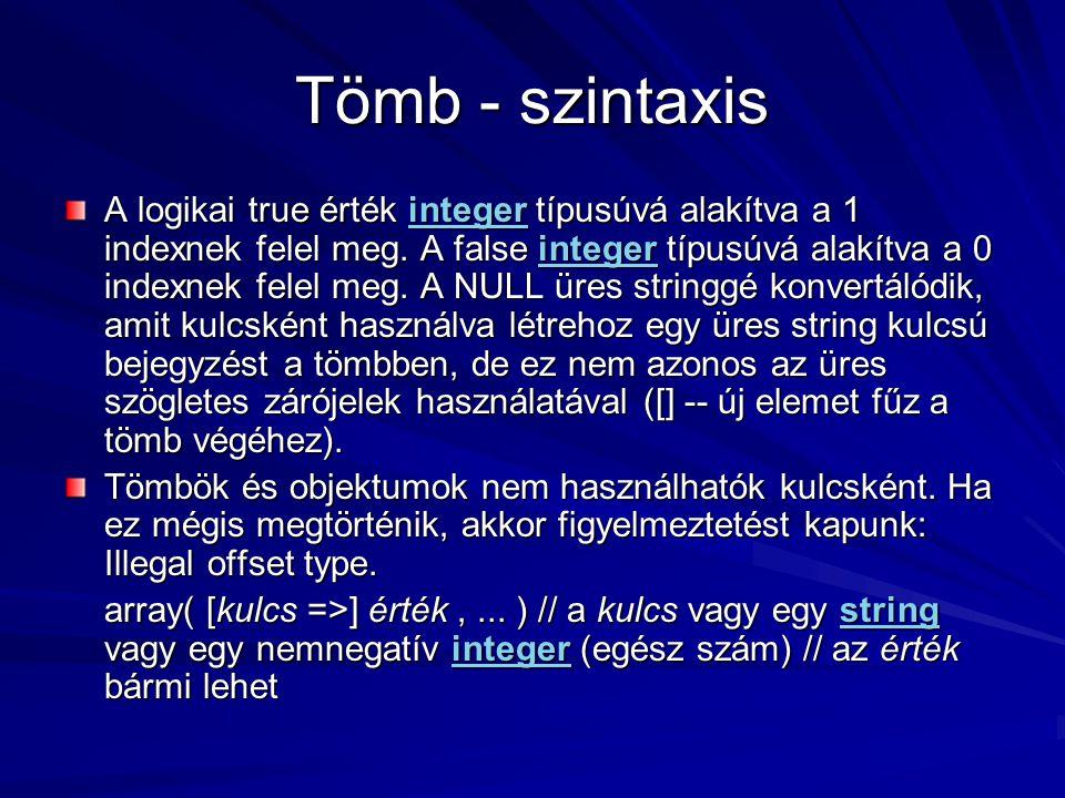 Tömb - szintaxis