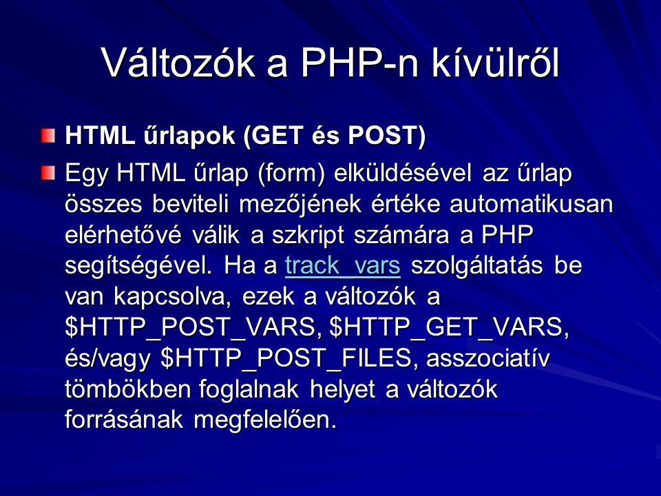 Változók a PHP-n kívülről