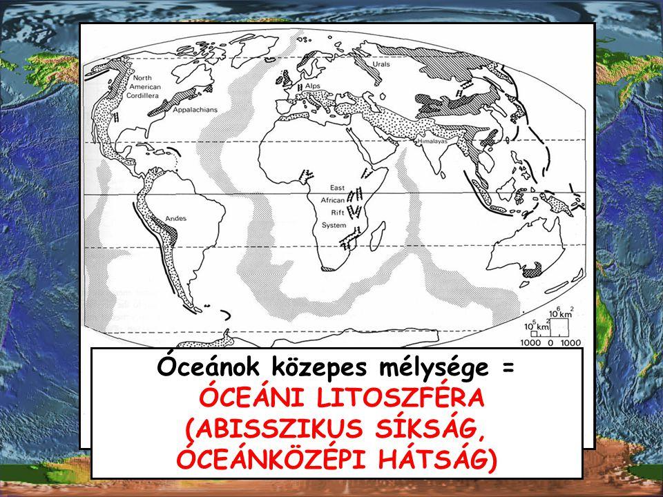 Óceánok közepes mélysége = ÓCEÁNI LITOSZFÉRA (ABISSZIKUS SÍKSÁG, ÓCEÁNKÖZÉPI HÁTSÁG)