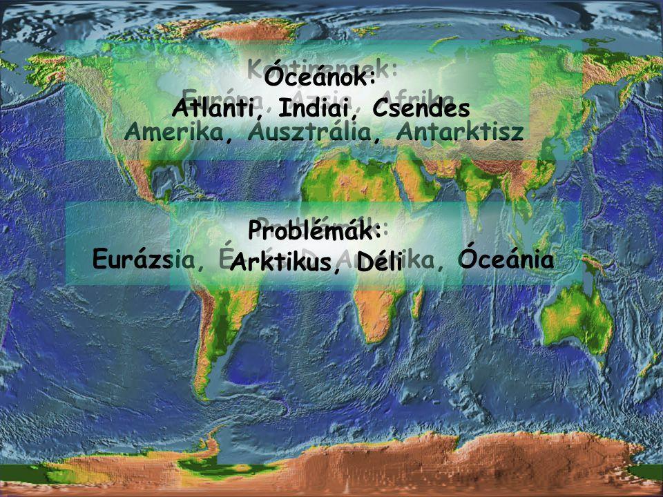 Kontinensek: Európa, Ázsia, Afrika, Amerika, Ausztrália, Antarktisz