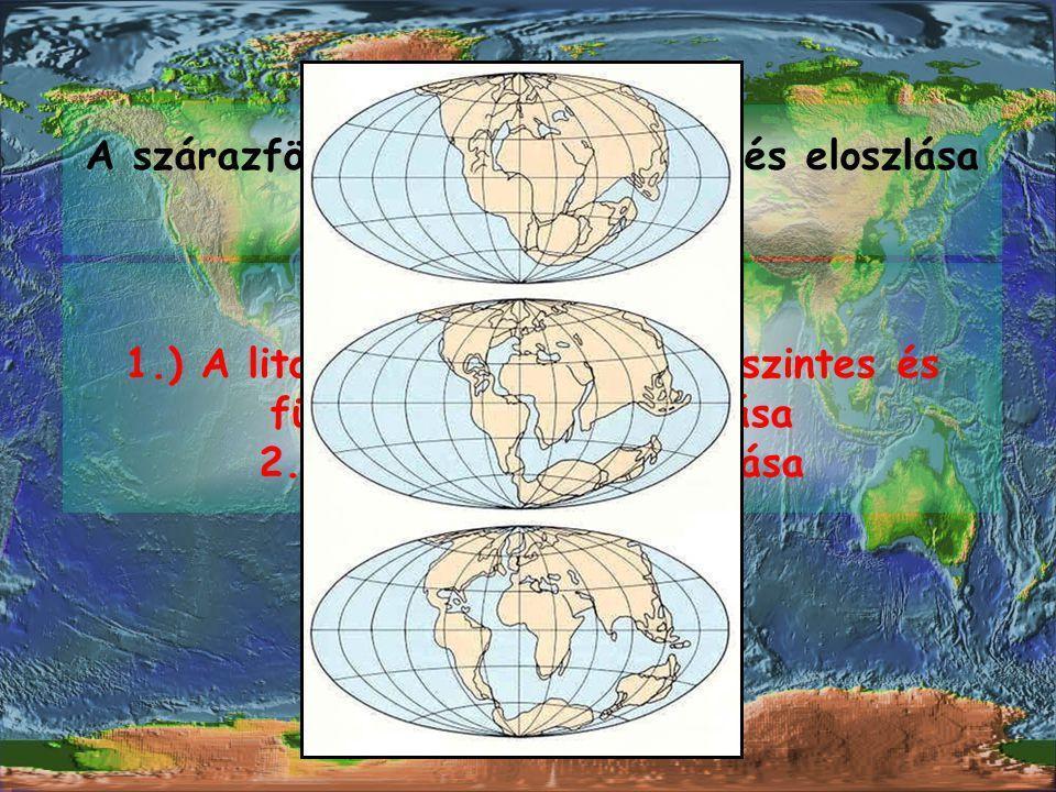 A szárazföldek tengerek aránya és eloszlása időben változik.