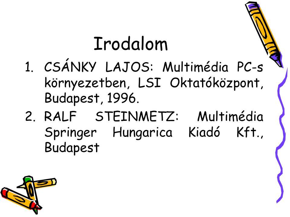 Irodalom CSÁNKY LAJOS: Multimédia PC-s környezetben, LSI Oktatóközpont, Budapest, 1996.