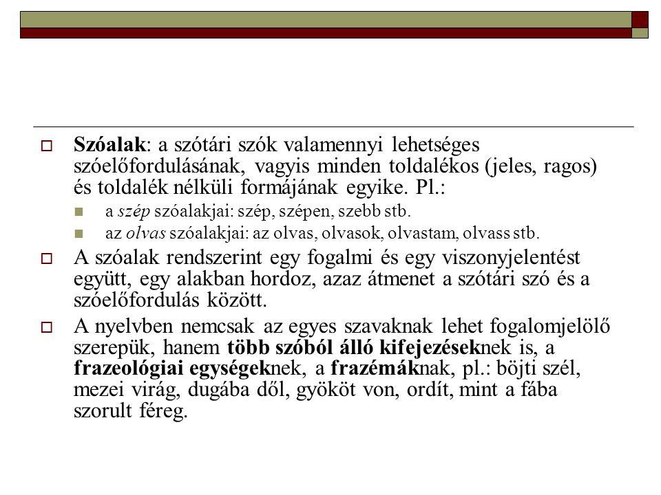 Szóalak: a szótári szók valamennyi lehetséges szóelőfordulásának, vagyis minden toldalékos (jeles, ragos) és toldalék nélküli formájának egyike. Pl.: