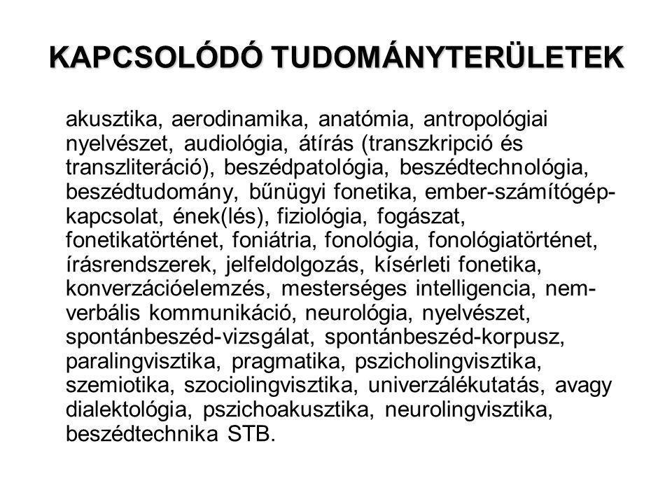 KAPCSOLÓDÓ TUDOMÁNYTERÜLETEK