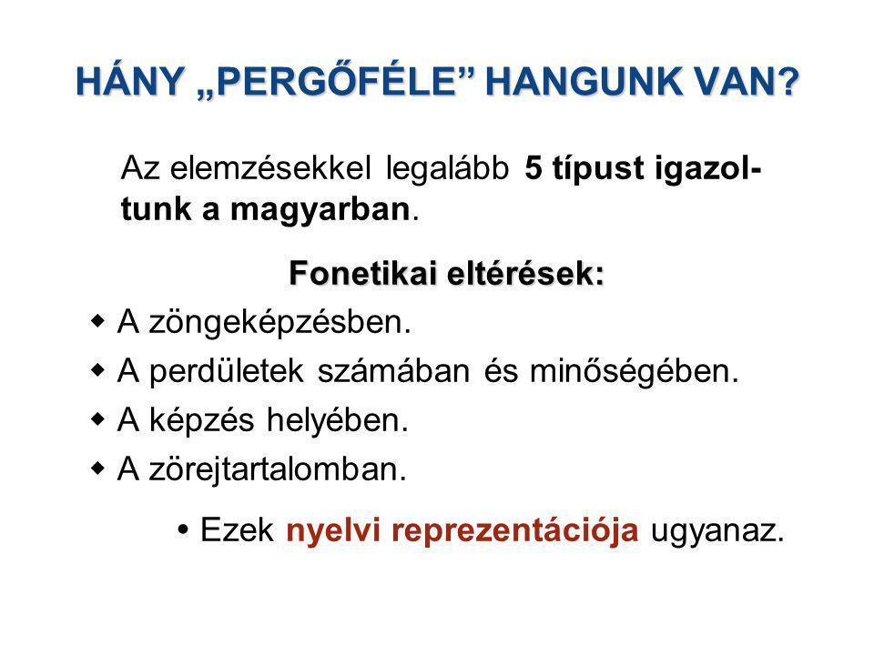 """HÁNY """"PERGŐFÉLE HANGUNK VAN"""
