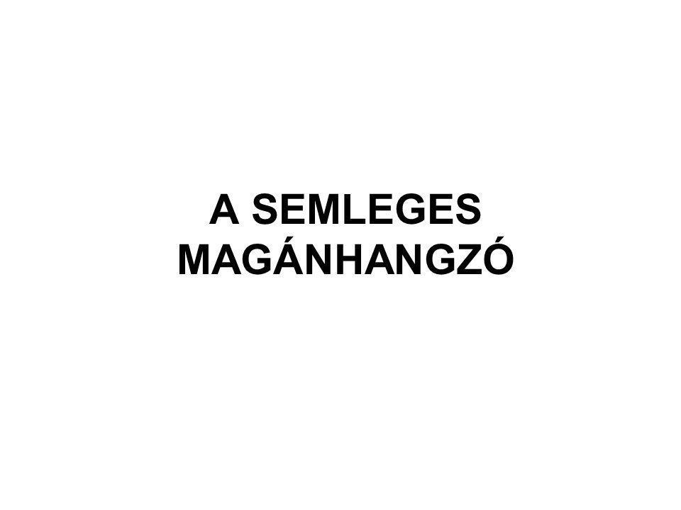 A SEMLEGES MAGÁNHANGZÓ