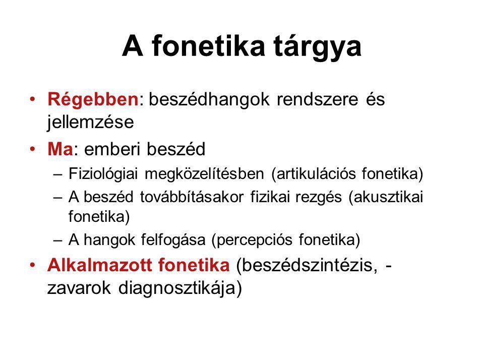 A fonetika tárgya Régebben: beszédhangok rendszere és jellemzése