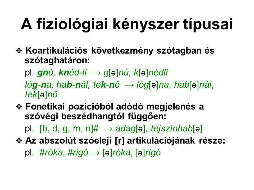 A fiziológiai kényszer típusai