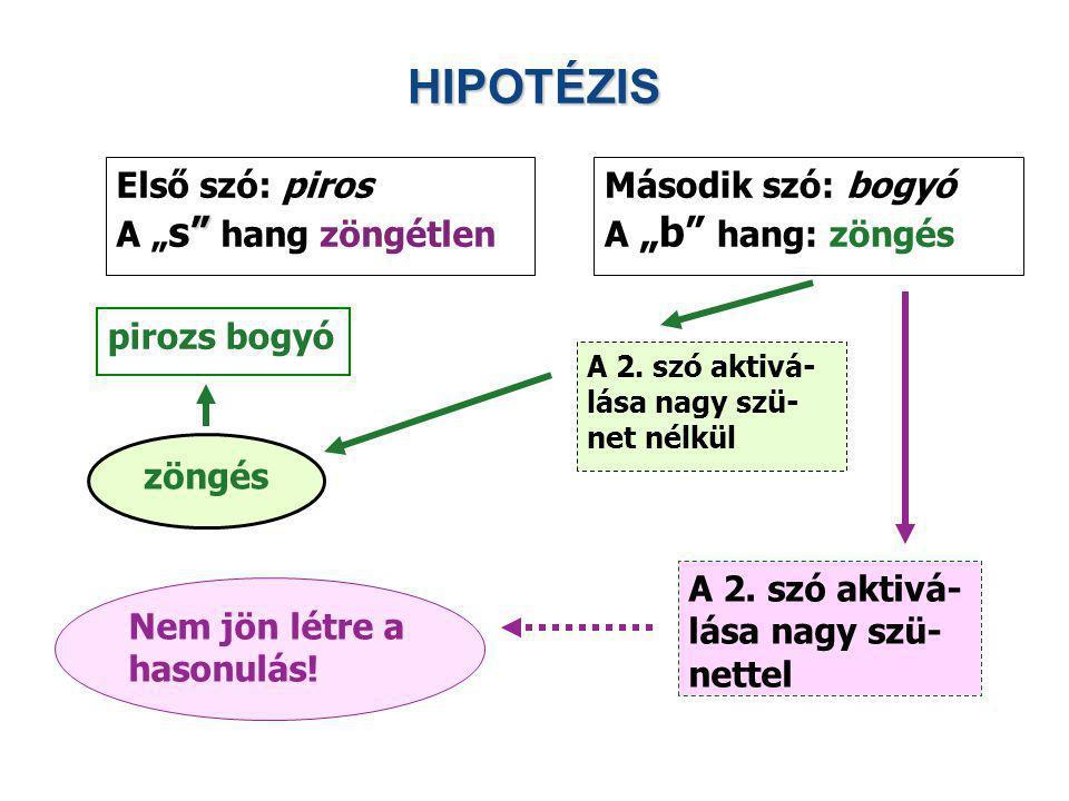"""HIPOTÉZIS Első szó: piros A """"s hang zöngétlen Második szó: bogyó"""