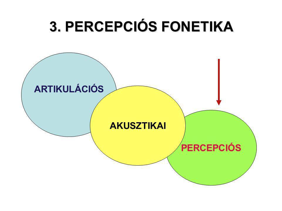 3. PERCEPCIÓS FONETIKA ARTIKULÁCIÓS AKUSZTIKAI PERCEPCIÓS