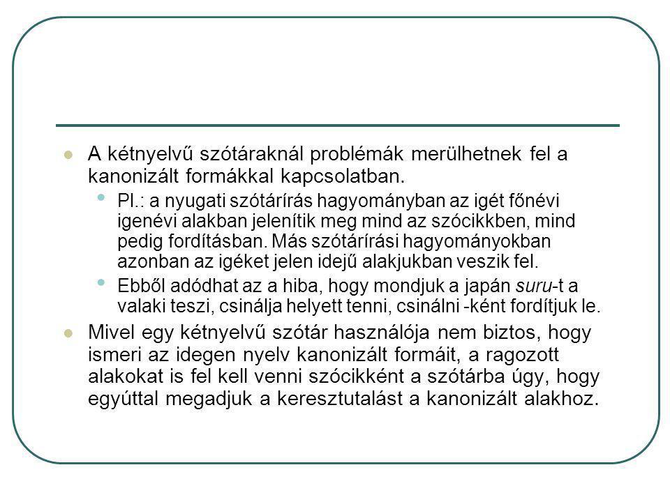 A kétnyelvű szótáraknál problémák merülhetnek fel a kanonizált formákkal kapcsolatban.