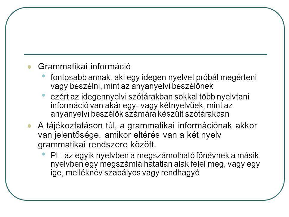 Grammatikai információ