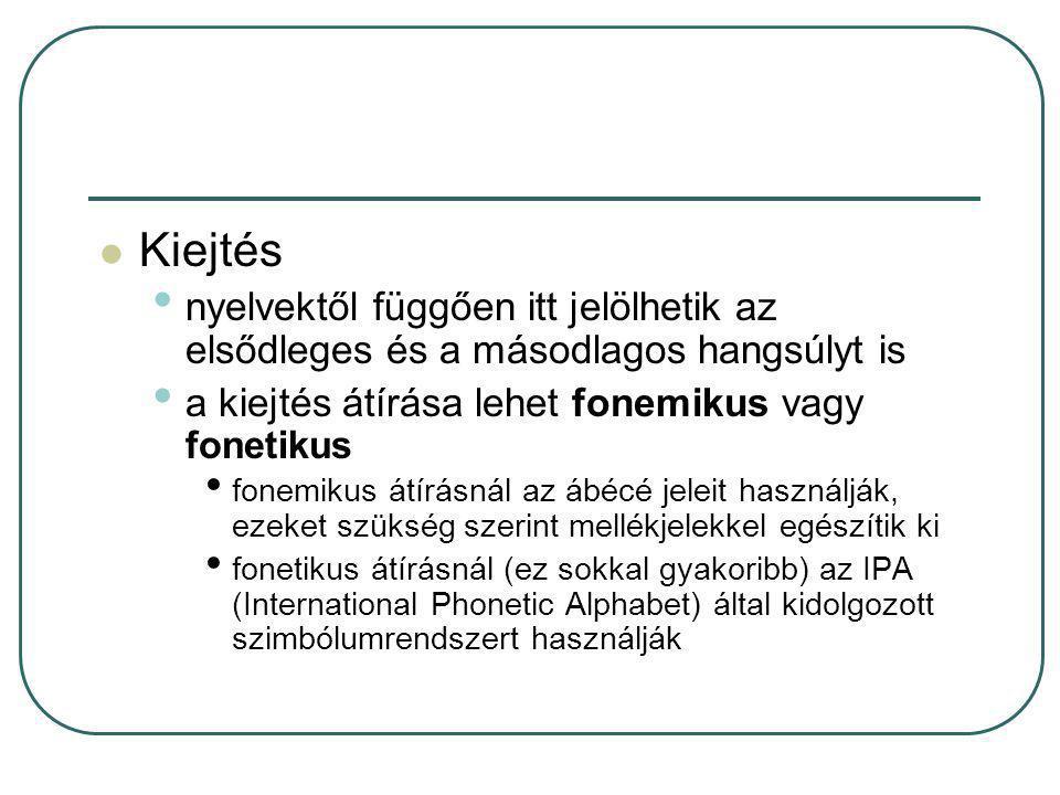 Kiejtés nyelvektől függően itt jelölhetik az elsődleges és a másodlagos hangsúlyt is. a kiejtés átírása lehet fonemikus vagy fonetikus.