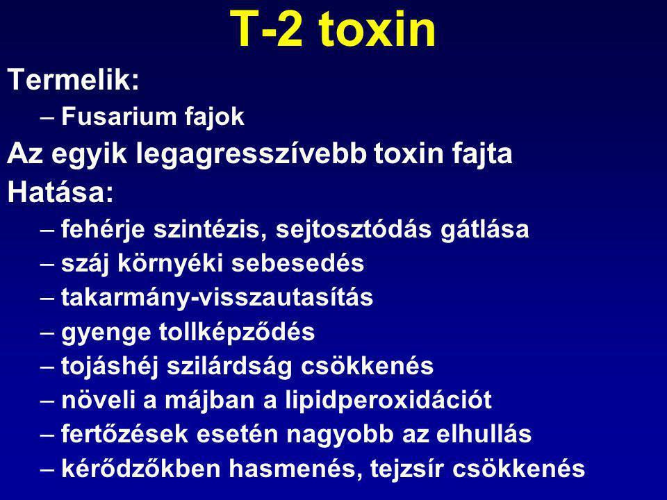 T-2 toxin Termelik: Az egyik legagresszívebb toxin fajta Hatása: