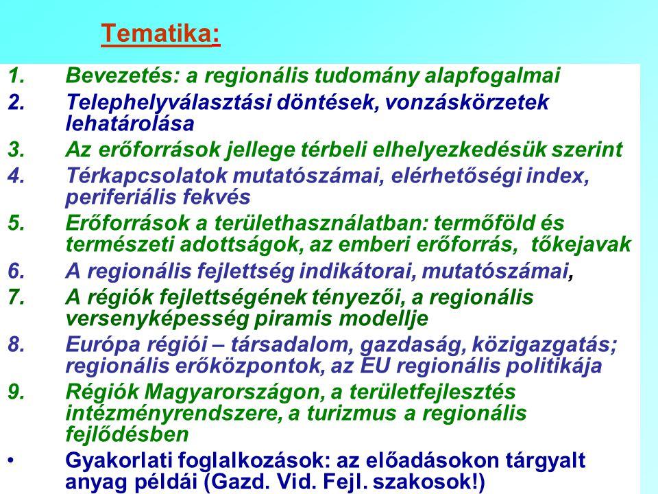 Tematika: Bevezetés: a regionális tudomány alapfogalmai