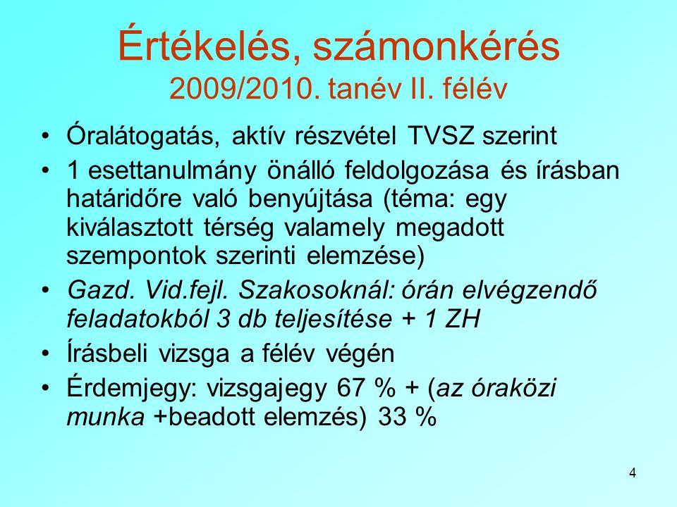 Értékelés, számonkérés 2009/2010. tanév II. félév