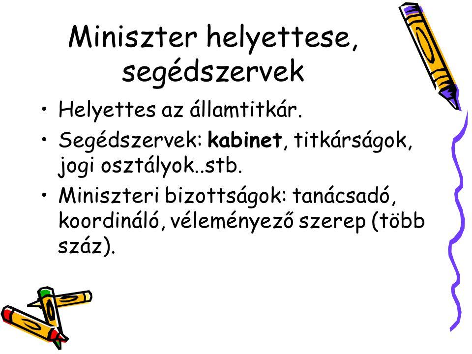 Miniszter helyettese, segédszervek