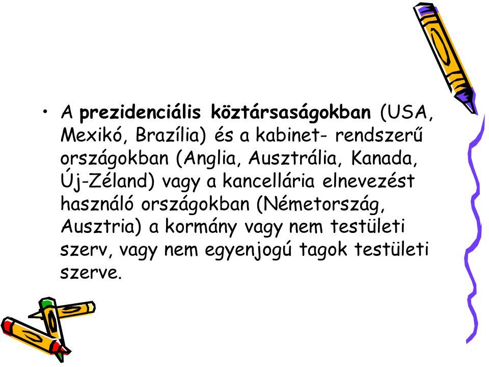 A prezidenciális köztársaságokban (USA, Mexikó, Brazília) és a kabinet- rendszerű országokban (Anglia, Ausztrália, Kanada, Új-Zéland) vagy a kancellária elnevezést használó országokban (Németország, Ausztria) a kormány vagy nem testületi szerv, vagy nem egyenjogú tagok testületi szerve.