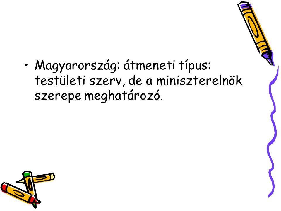 Magyarország: átmeneti típus: testületi szerv, de a miniszterelnök szerepe meghatározó.