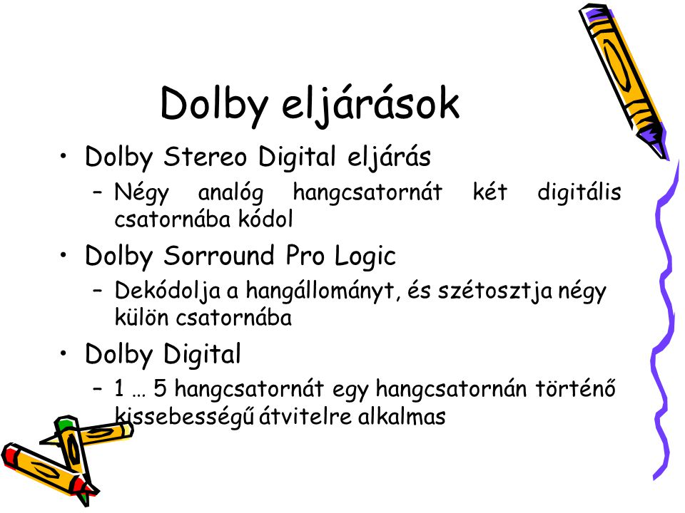 Dolby eljárások Dolby Stereo Digital eljárás Dolby Sorround Pro Logic