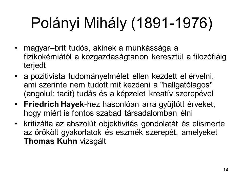 Polányi Mihály (1891-1976) magyar–brit tudós, akinek a munkássága a fizikokémiától a közgazdaságtanon keresztül a filozófiáig terjedt.