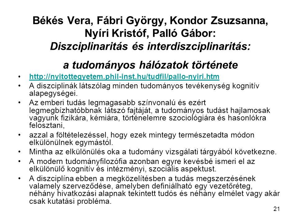 Békés Vera, Fábri György, Kondor Zsuzsanna, Nyíri Kristóf, Palló Gábor: Diszciplinaritás és interdiszciplinaritás: a tudományos hálózatok története