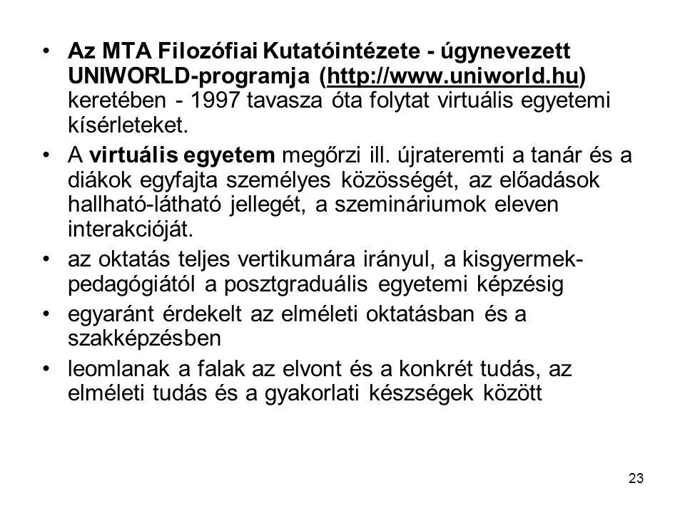 Az MTA Filozófiai Kutatóintézete - úgynevezett UNIWORLD-programja (http://www.uniworld.hu) keretében - 1997 tavasza óta folytat virtuális egyetemi kísérleteket.