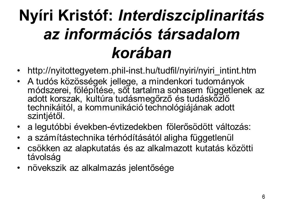 Nyíri Kristóf: Interdiszciplinaritás az információs társadalom korában
