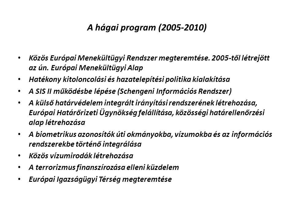 A hágai program (2005-2010) Közös Európai Menekültügyi Rendszer megteremtése. 2005-től létrejött az ún. Európai Menekültügyi Alap.