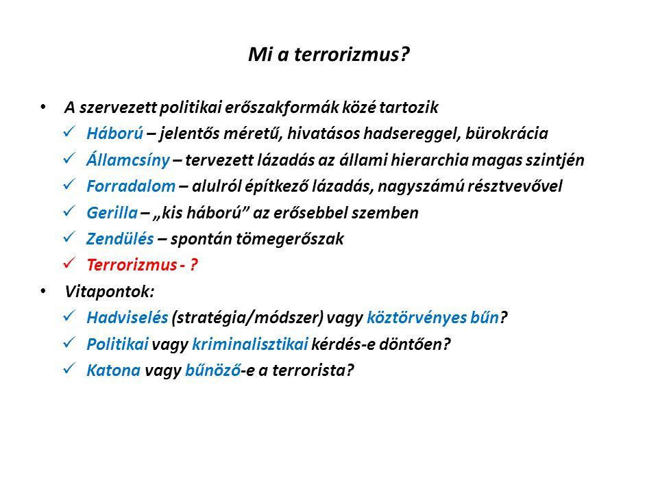 Mi a terrorizmus A szervezett politikai erőszakformák közé tartozik