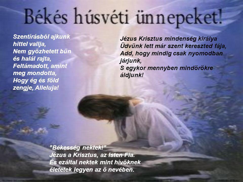 Szentírásból ajkunk hittel vallja, Nem győzhetett bűn és halál rajta, Feltámadott, amint meg mondotta, Hogy ég és föld zengje, Alleluja!