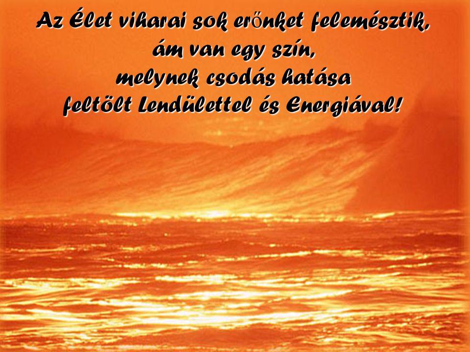 Az Élet viharai sok erőnket felemésztik, ám van egy szín, melynek csodás hatása feltölt Lendülettel és Energiával!