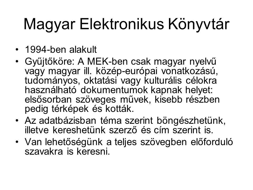 Magyar Elektronikus Könyvtár