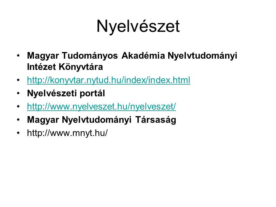 Nyelvészet Magyar Tudományos Akadémia Nyelvtudományi Intézet Könyvtára