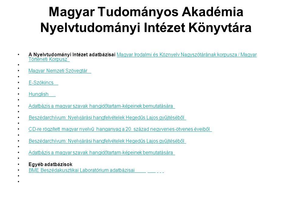 Magyar Tudományos Akadémia Nyelvtudományi Intézet Könyvtára