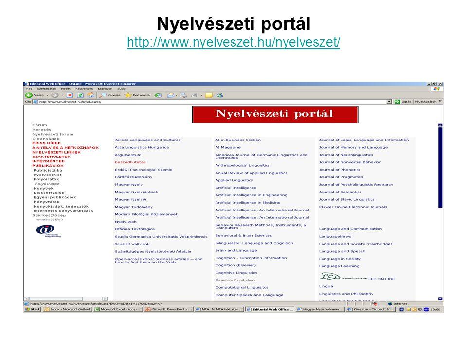 Nyelvészeti portál http://www.nyelveszet.hu/nyelveszet/