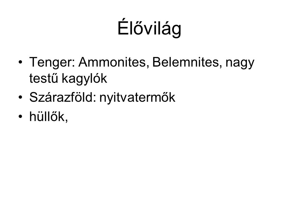 Élővilág Tenger: Ammonites, Belemnites, nagy testű kagylók