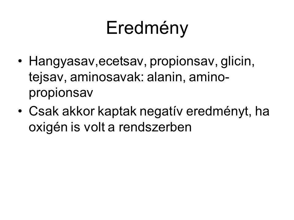 Eredmény Hangyasav,ecetsav, propionsav, glicin, tejsav, aminosavak: alanin, amino-propionsav.