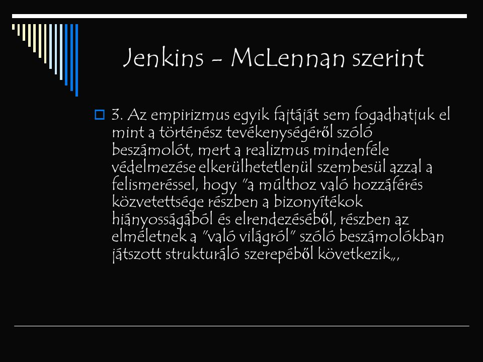 Jenkins - McLennan szerint