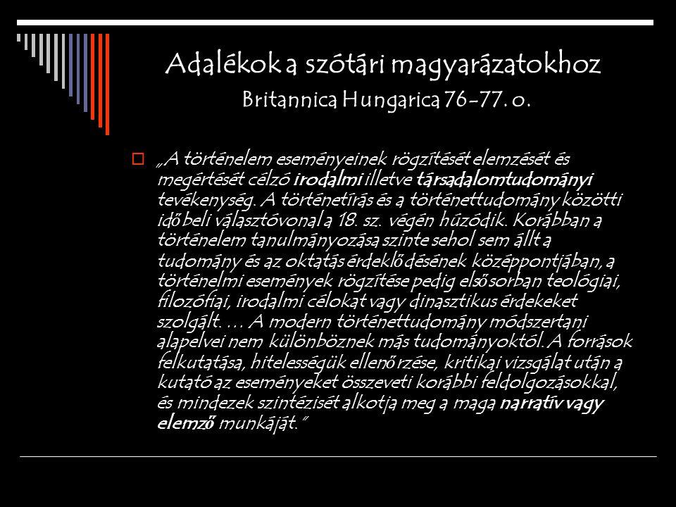 Adalékok a szótári magyarázatokhoz Britannica Hungarica 76-77. o.
