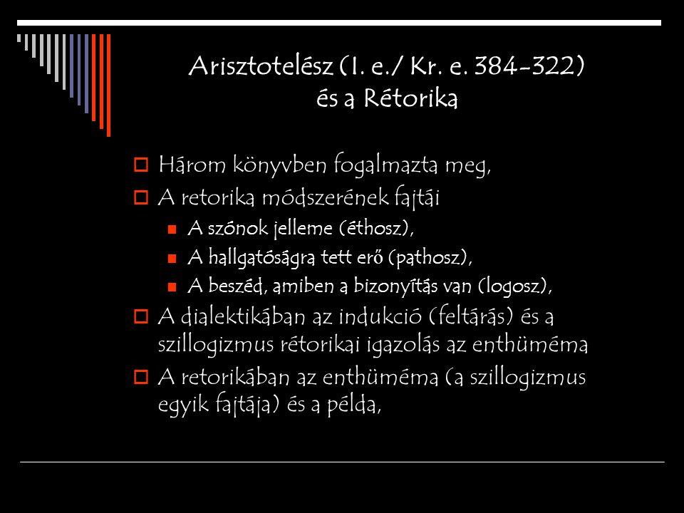 Arisztotelész (I. e./ Kr. e. 384-322) és a Rétorika